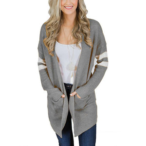 Pinstripe Sleeves In Color Matching Long Knitted Cardigan Sweater Gray s