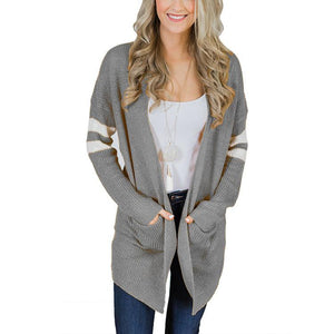 Pinstripe Sleeves In Color Matching Long Knitted Cardigan Sweater Gray m