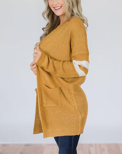 Pinstripe Sleeves In Color Matching Long Knitted Cardigan Sweater Yellow 2xl