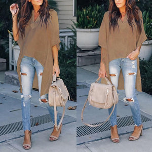 Fashion Casual Pure   Color Loose Blouse Camel 2xl