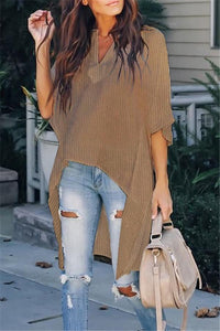 Fashion Casual Pure   Color Loose Blouse Camel s