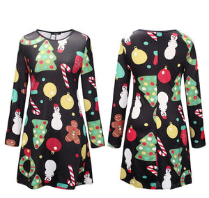 Christmas Long Sleeve Printed Parent-Child Dress Black boy\/girl-130