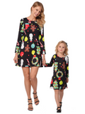 Christmas Long Sleeve Printed Parent-Child Dress Black boy\/girl-100