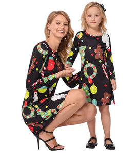 Christmas Long Sleeve Printed Parent-Child Dress Black boy\/girl-110