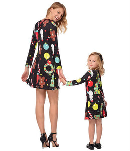 Christmas Long Sleeve Printed Parent-Child Dress Black boy\/girl-120