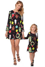 Christmas Long Sleeve Printed Parent-Child Dress