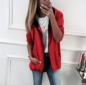 Fashion Zipper Solid Color Cardigan Coat Red l