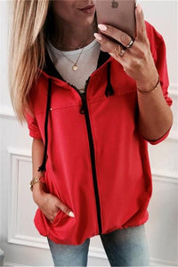 Fashion Zipper Solid Color Cardigan Coat Red s