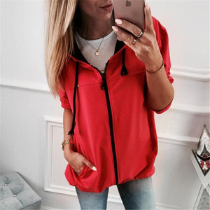 Fashion Zipper Solid Color Cardigan Coat Red m