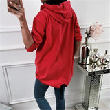 Fashion Zipper Solid Color Cardigan Coat Red xl