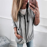 Fashion Zipper Solid Color Cardigan Coat Dark Grey xl