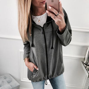 Fashion Zipper Solid Color Cardigan Coat Dark Grey s