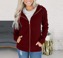 Fashion Long Sleeve Solid Color Zip Top