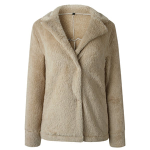 Pure Color Plush Warm And Loose Coat Light Gray m