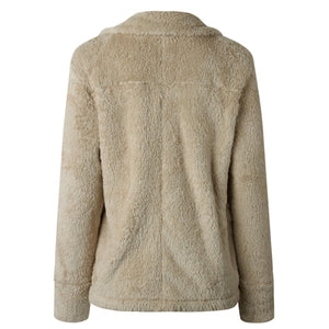 Pure Color Plush Warm And Loose Coat Light Gray l