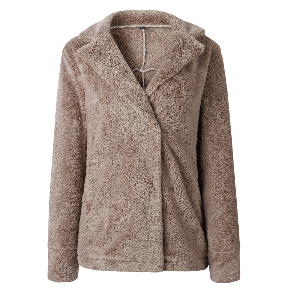 Pure Color Plush Warm And Loose Coat Apricot m