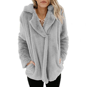 Pure Color Plush Warm And Loose Coat Light Gray xl