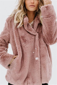 Pure Color Plush Warm And Loose Coat Peach s