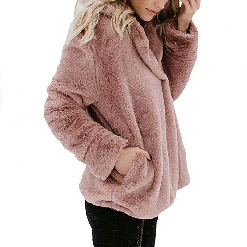 Pure Color Plush Warm And Loose Coat Black m