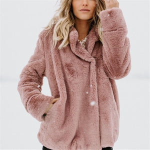 Pure Color Plush Warm And Loose Coat Peach m