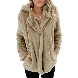Pure Color Plush Warm And Loose Coat Light Gray s