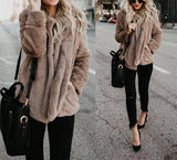 Pure Color Plush Warm And Loose Coat Apricot s