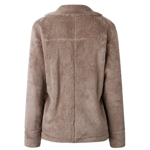 Pure Color Plush Warm And Loose Coat Apricot l