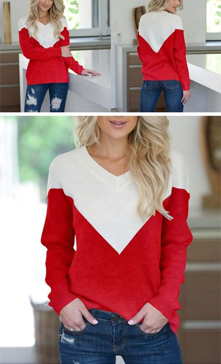 V Neck Collage Color Long Sleeve Loose Sweater Red s