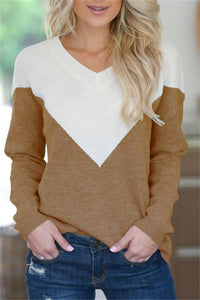 V Neck Collage Color Long Sleeve Loose Sweater Coffee s
