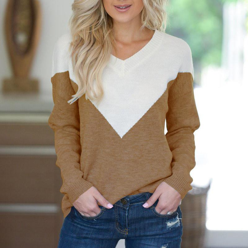 V Neck Collage Color Long Sleeve Loose Sweater Coffee m