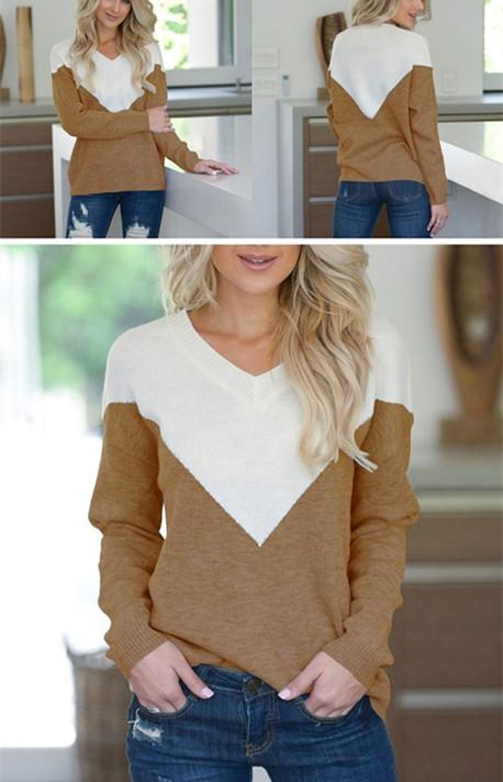 V Neck Collage Color Long Sleeve Loose Sweater Coffee l