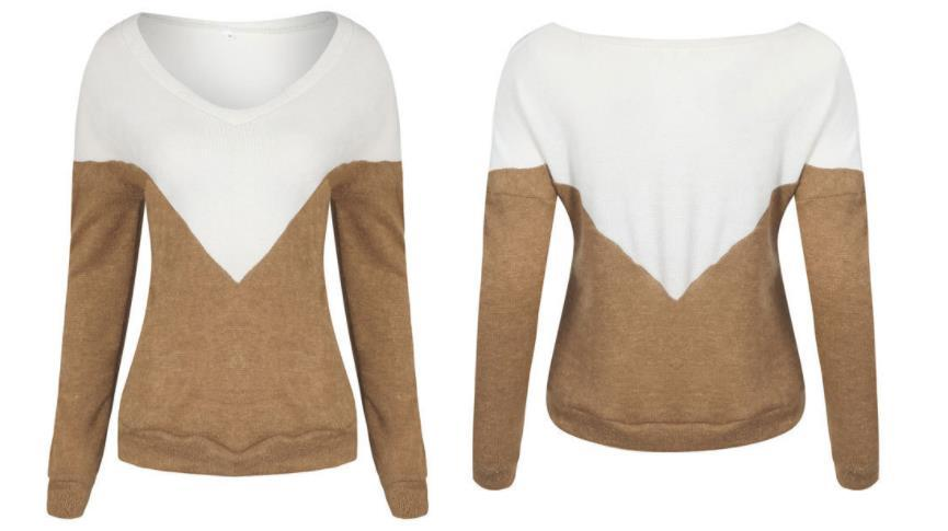 V Neck Collage Color Long Sleeve Loose Sweater Coffee xl