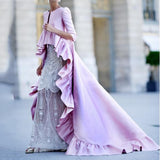 Sexy Solid Color Ruffled Maxi Dress Pink m