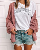 Pure Color Fashionable Plush Cardigan Long Sleeve Jacket Same As Photo m