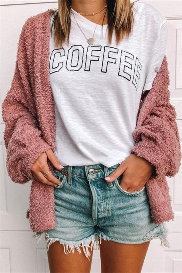 Pure Color Fashionable Plush Cardigan Long Sleeve Jacket Same As Photo s