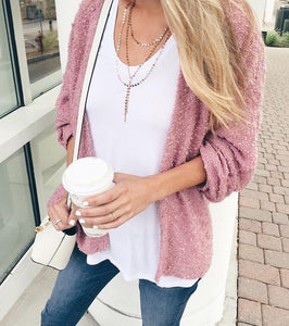 Pure Color Fashionable Plush Cardigan Long Sleeve Jacket Same As Photo l