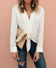 Pure Color Fashion Lapel With Loose Long-Sleeve Shirt