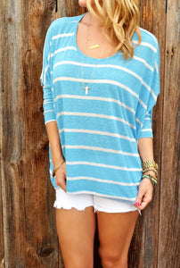 Fashion Long Sleeve Striped Top Blue m