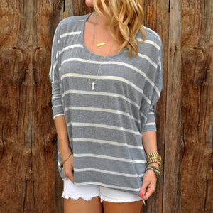 Fashion Long Sleeve Striped Top Gray m