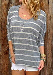 Fashion Long Sleeve Striped Top Gray xl