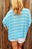 Fashion Long Sleeve Striped Top Blue l