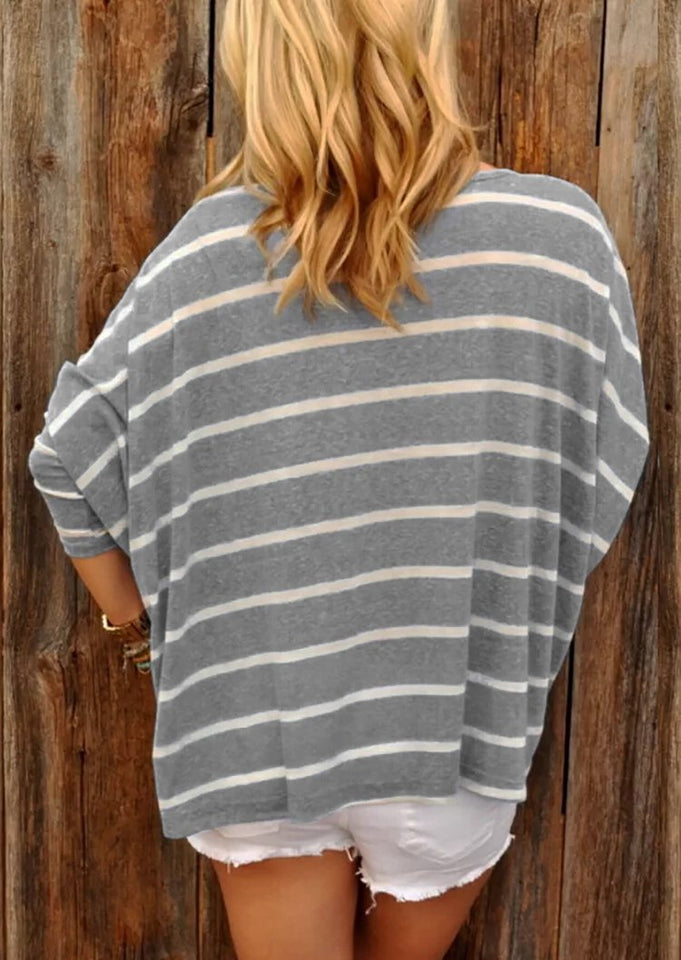 Fashion Long Sleeve Striped Top Blue s