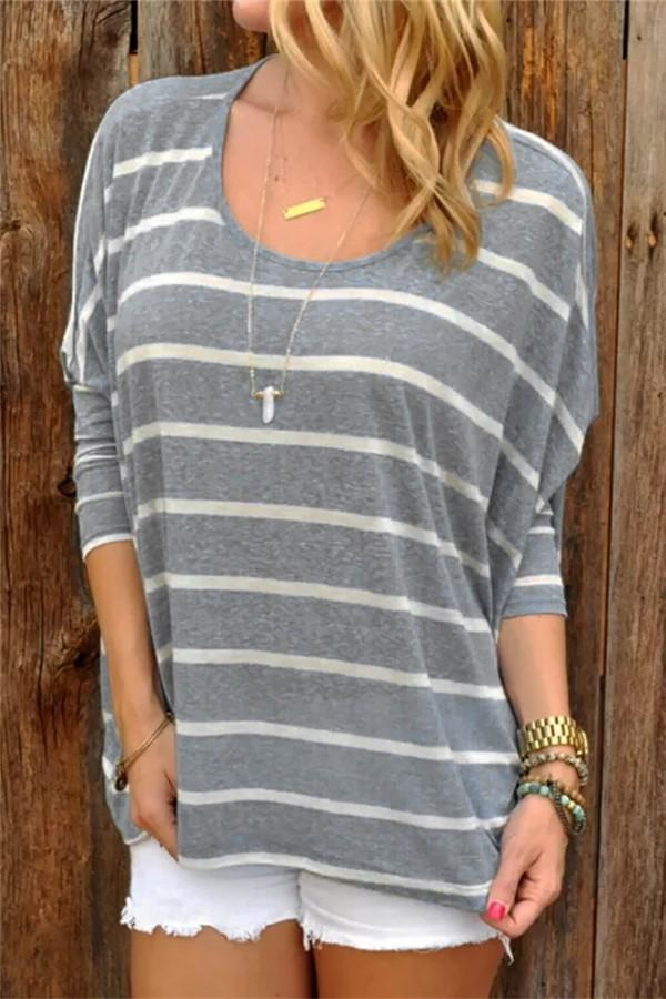 Fashion Long Sleeve Striped Top Gray s