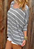 Fashion Long Sleeve Striped Top Gray l