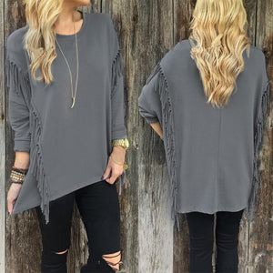 Fashion Long Sleeve Tassel Round Neck T-Shirts Gray xl