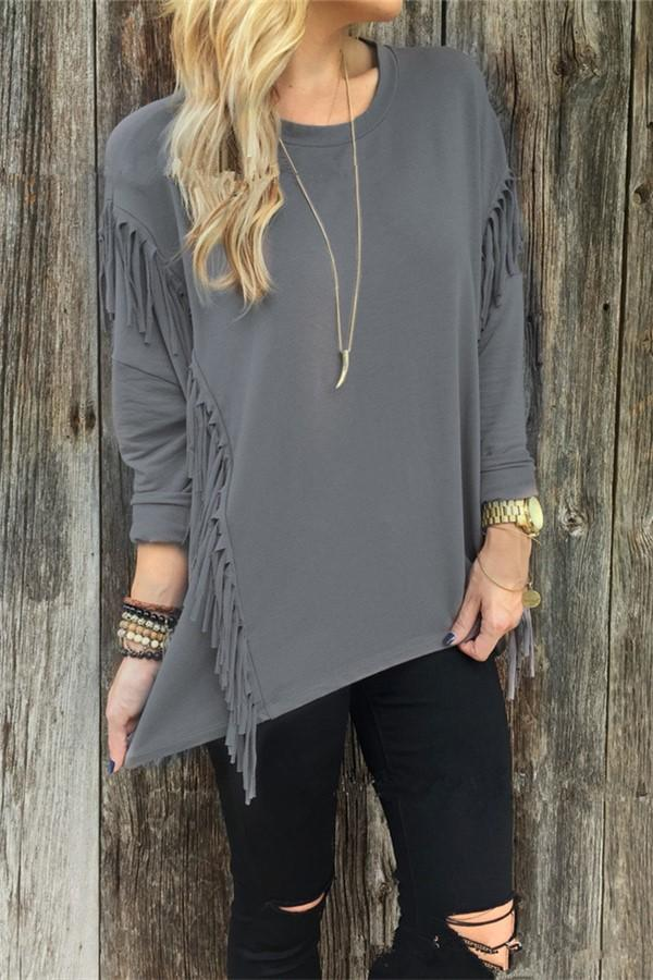 Fashion Long Sleeve Tassel Round Neck T-Shirts Gray s