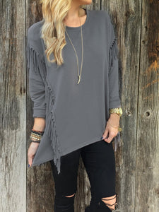 Fashion Long Sleeve Tassel Round Neck T-Shirts Gray m