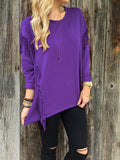 Fashion Long Sleeve Tassel Round Neck T-Shirts Purple s