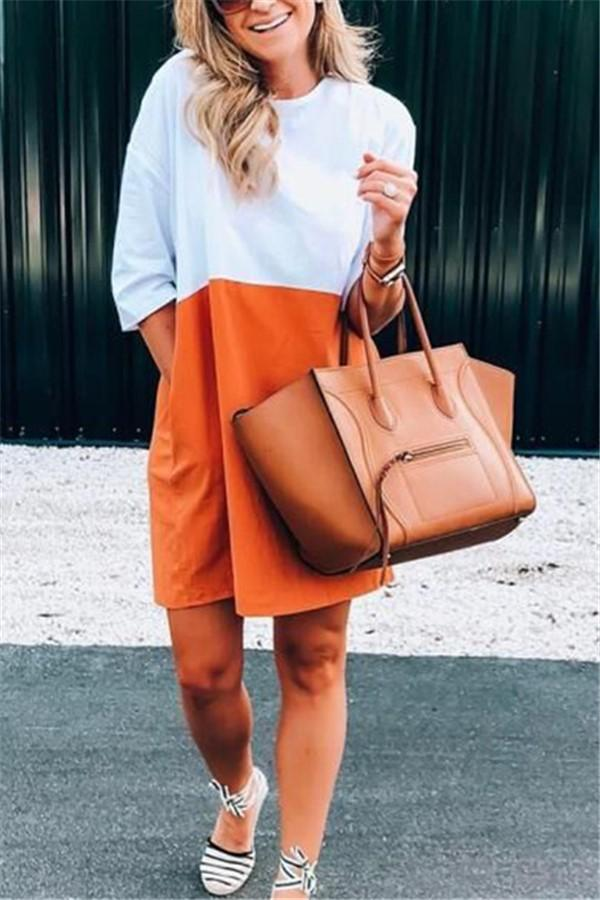 Fashion Colorblock Sleeveless Loose Dress Orange Red s