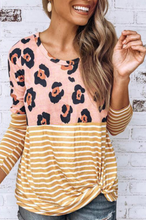Fashion Leopard Round Neck Striped T-Shirt